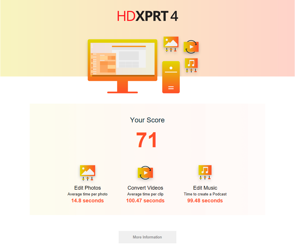 HDXPRT 4 results page