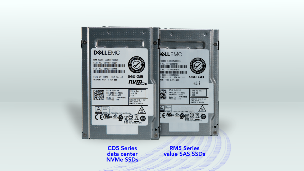 Image of KIOXIA CD5 Series data center NVMe SSD and RM5 Series value SAS SSD