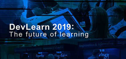 Collage image with text overlay - DevLearn 2019: The future of learning