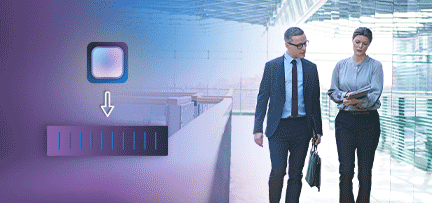Photo of male and female coworkers walking and talking in an office building. Overlaid with EPYC processor and server illustration.