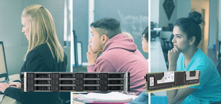Collage photo of 3 people working at computers, with overlay photos of the Dell EMC PowerEdge R740xd server and Intel Optane DC memory.
