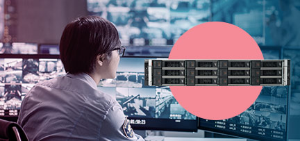 Photo of a person working in a surveillance room with a superimposed photos of the PowerEdge R740xd2 server