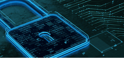 Photo illustration of a padlock superimposed on part of a circuit board
