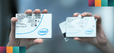 Hand holding up Intel NVMe SSD