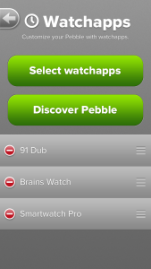 Pebble app control of the watch