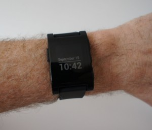 Pebble smartwatch in action
