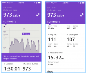 Screen shots of my cycling spin class summary.