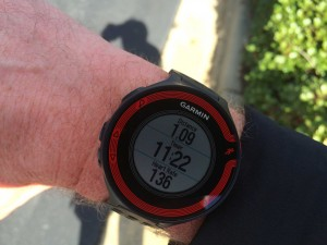 The Garmin Forerunner 220 on my right wrist during my run.