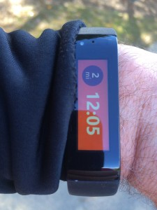 The Microsoft Band on my left wrist during my run.