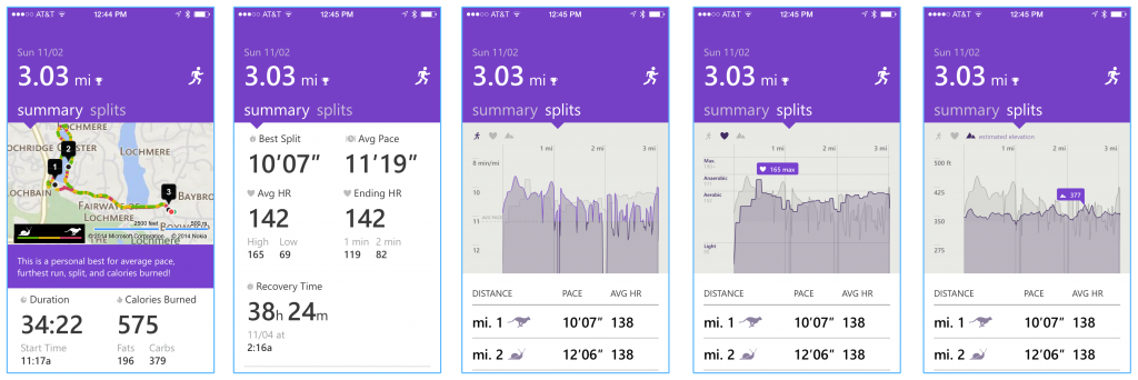 Screen shots of the various results I accessed after my run.