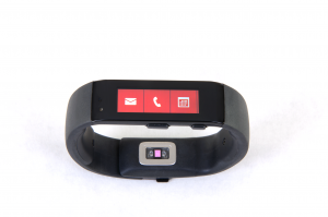 The Microsoft Band showing the icons for email, calls, and appointments.