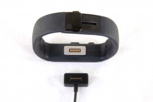 The charging port and cord for the Microsoft Band.