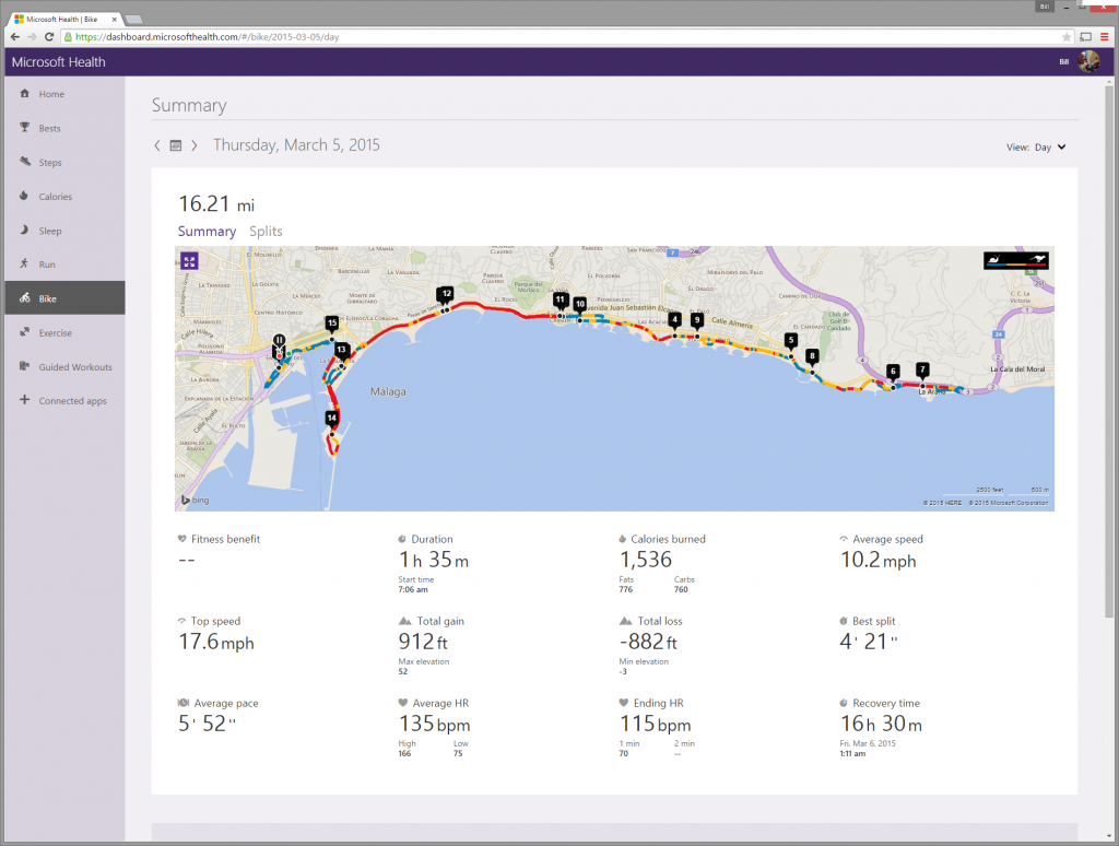 A screenshot of the information Microsoft Band supplies when I ride my bike.